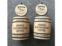 A set of Jamaican Blue Mountain Coffee Barrel containers: use for storage - New & un-used