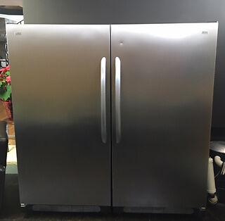 Upright Stainless steel Kenmore Elite Fridge and freezer set