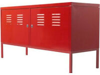 For sale is used Ikea PS metal Cabinet red colour.