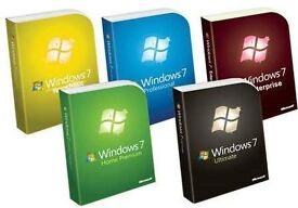 GENUINE WINDOWS 7 ALL VERSIONS AVAILABL ENEW ON ORIGINAL MICROSOFT DISCS WITH PRODUCT KEYS FOR 3 USE