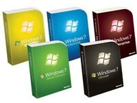genuine windows 7 all versions available new on original m.s discs with full lifetime product keys