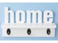 3 Hooks Betterware White Home Text Wall Mounted Home Shelf and Coat Hanger Rack.