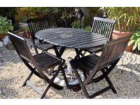 Hardwood Garden Folding Table and 4 Folding Chairs, (also hardwood)