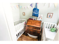 White wooden baby/toddler compact cot + mattress