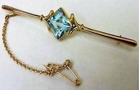 Antique Jewellery 9ct Yellow Gold Blue Topaz Brooch with Safety Chain 7cm Long 3.1 grams CHRISTMAS