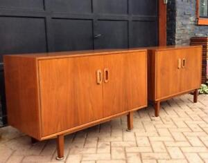 Mid Century Modern Teak Record Sideboard Buffet Media TV Console Entry Cabinet – 2 kinds- Excellent Condition