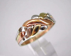 Beautiful Tricolored 14k solid real puzzle ring