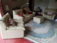 Cream Leather Sofa plus Armchairs plus Footstool