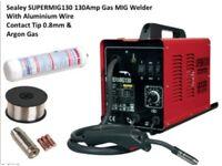 SEALEY SUPERMIG130 130AMP GAS MIG WELDER WITH ALUMINIUM WIRE CONTACT TIP 0.8MM & ARGON GAS