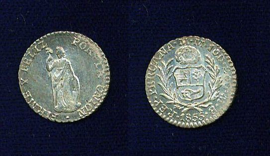 PERU REPUBLIC LIMA  1855-MB  1/2 REAL SILVER COIN, UNCIRCULATED