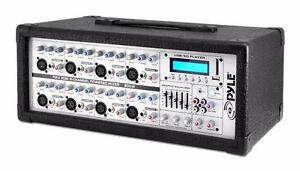 Pyle PMX802M 8-Channel 800 Watt Powered Mixer with xlr and 1/4 jacks AUX (3.5mm) Input, LCD Display