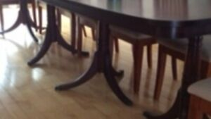 Eleven Foot long antique mahogany table and chairs