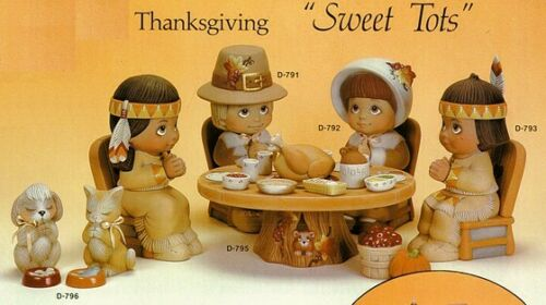 THANKSGIVING SWEET TOT SET CERAMIC BISQUE READY TO PAINT