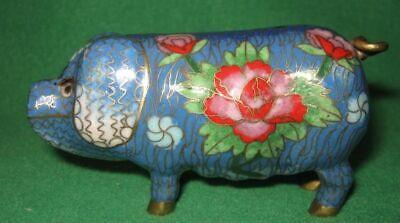 Colorful Oriental Cloisonne Pig Figurine