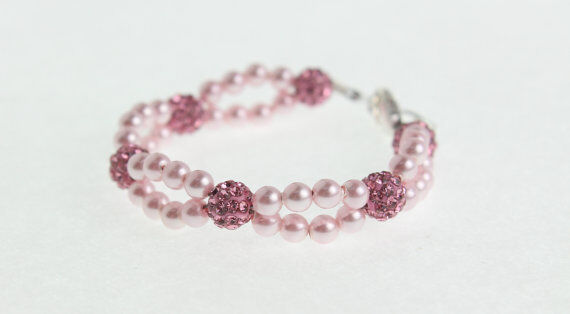 Baby Bracelet with Swarovski 3D Pink Pearls and Pink Pave Beads