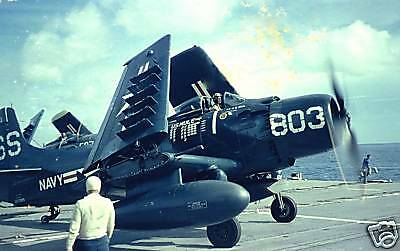 Color Photo Korean War A-1 Skyraider Mission Markings US Navy Korea