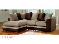 50 % OFF New Byron Left / Right Hand Corner Or 3+2 Sofa In Brown Cream Black &Grey Fabric Sofa