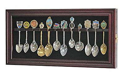 12 Souvenir Spoons Shadow Box Cabinet Rack Wall Display Case (SP12-MAH)