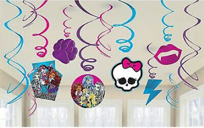 Monster High Party Decor (MONSTER HIGH DOLLS Birthday party supplies HANGING SWIRL DECORATIONS)