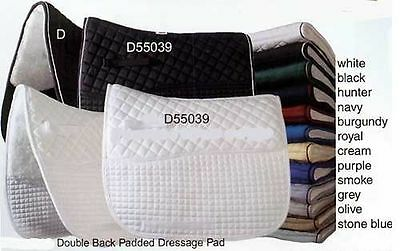 PRI Fleece Back Quilted Dressage Saddle Pad - Black or White Black Dressage Saddle Pads