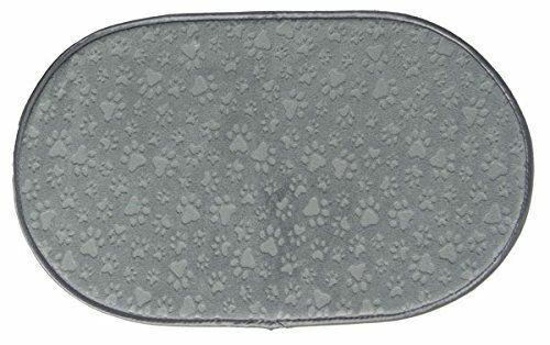 Embossed Paw Print Gray Happy Cat Dog Pet Dish Microfiber Mat