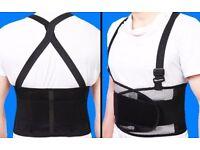 *** SALE Large Adjustable Back Support Belt Straps Work Office Weight Lifting Brace Gym ***
