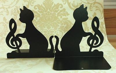 1Pair Music Notation Metal Bookends Creative Crafts Book Stand  Home Offce Decor