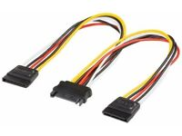 15 Pin Sata Male to 2 Sata Female Power Splitter Y Cable 20cm uk seller