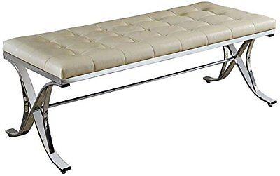 Acme Furniture 96413 Royce Beige Faux Leather Tufted Bench NEW