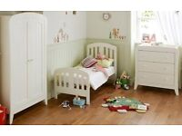 MAMAS AND PAPAS fern furniture collection, white INC COTBED,WARDROBE,CHANGING UNIT & BEDDING SET