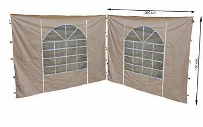 2 Curtains Side Panels with PVC Window 300 x 195 cm for Sahara Gazebo