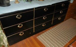 Black Lacquer Dresser With Gold Accents and Mirror