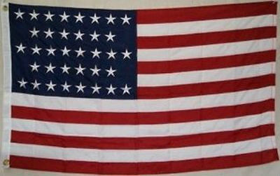 5x8 Embroidered Sewn USA American 36 Star Linear 600D Nylon Flag 5'x8'