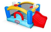RENT KIDS FUN BOUNCY CASTLE WITH SLIDE AND 2 BASKETBALL HOOPS!