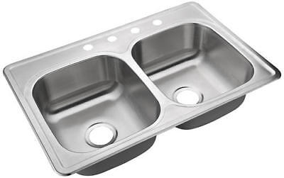 Double Bowl Kitchen Sink 4 Hole Heavy Duty Satin 33
