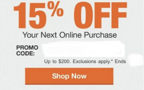 Home Depot 15% Off Coupon Online Purchase Save up to $200