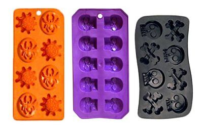 Set of 3 Spooky Halloween Shaped Ice Cube Tray / Food Molds