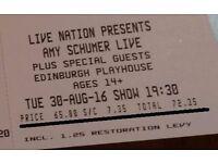 2 Amy Schumer Live Tickets - Edinburgh Playhouse - STALLS KK - FACE VALUE £144.70