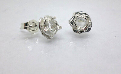 2mm -4mm Round Rose Shape Pre-Notched Solid Sterling Silver Cast Earring Setting 4mm Square Shaped Earring