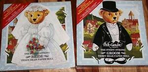 "9"" 2 STEIFF/STRONG GROOM,BRIDE TEDDY BEAR PAPER DOLLS,NIB"