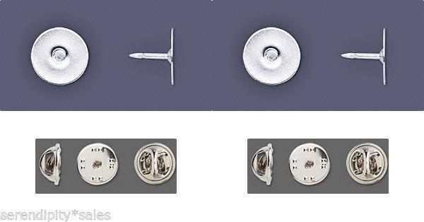 12 Silver Plated TIE TACKS Tacs ~ Lapel Scatter Pin ~ FLAT 12mm pad w/ Clutch