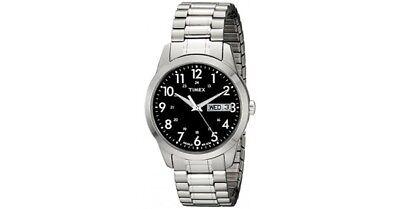 Timex Men's Silver-Tone Black Dial Expansion Band Dress Watch T2M932