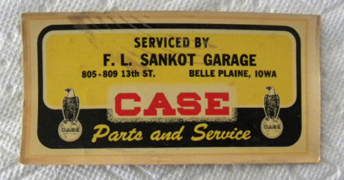 Vintage Sankot Case Tractor, Machinery Parts,Service, Belle Plaine,Iowa IA Decal