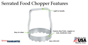 Kwik Kut R115s Serrated Food Chopper/box Kitchen USA made S/S metal via Rada Co.