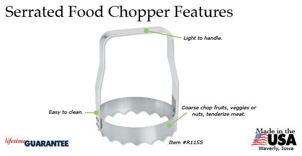 Kwik Kut Serrated Food Chopper w/box  USA made S/S metal Rad