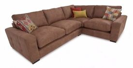 DFS Turin left handed 3 seater corner sofa with scatter cushions and formal back