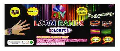 LOOM BANDS Kit 600 Loomis + Webrahmen +  20 S-Haken Starterset Loom Armband ()