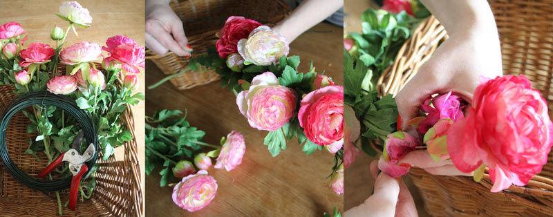 Blumen erst zusammenbinden, dann am Korb gut feststecken. (Copyright: Sina Huth)