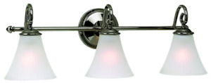 Light Wall Fixture in Polished Nickel Finish with Glass Shades