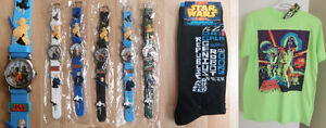 Star Wars wrist watches, socks, & official t-shirt (new)